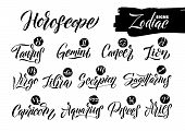 Calligraphy Zodiac Signs Set. Hand Drawn Horoscope Astrology Symbols, Letterings Grunge Texture Desi poster