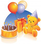 Birthday cake, present, teddy bear, party hat, balloons. Vector illustration