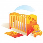 Nursery with baby in bed, teddy bear, carpet. Vector illustration
