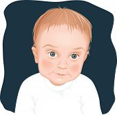 Adorable baby boy portrait, dark background, vector illustration
