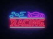 Racing Sign Vector Design Template. Street Racing Neon Text, Light Banner Design Element Colorful Mo poster