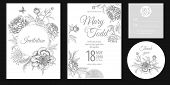 Wedding Invitation Cards. Invite, Thank You, Rsvp Templates. Decoration With Garden Flowers Peonies, poster