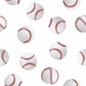 Realistic Detailed 3d Baseball Leather Ball Seamless Pattern Background On A White Closeup View Elem poster