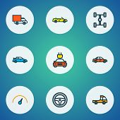 Automobile Icons Colored Line Set With Sport, Sedan, Cabriolet And Other Rudder Elements. Isolated   poster