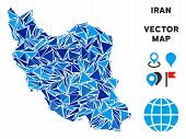 Iran Map Collage Of Blue Triangle Elements In Different Sizes And Shapes. Vector Polygons Are Groupe poster