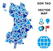 Koh Tao Thai Island Map Collage Of Blue Triangle Items In Different Sizes And Shapes. Vector Triangl poster