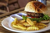 Tasty Fresh Burger And French Fries On White Plate Served For Lunch. Yummy Kids Food Menu Closeup Ph poster