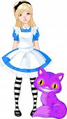 stock photo of alice wonderland  - Alice in Wonderland and Cheshire Cat - JPG