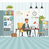 Workspace Of Busy Businessman. Boss Or Company Manager Sitting At Table. Businessman Manager In Offi poster