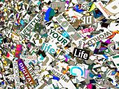 Random words and letters love your life solarized color and scratches  poster
