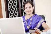 Traditional Woman Online Shopping At Home