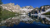 Cramer Lake Reflection, Sawtooth Range, ID