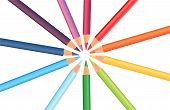 Multicolored Rainbow Pencils In A Circle, Vector