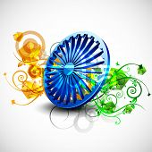 stock photo of asoka  - Indian flag color creative floral background with 3D Asoka wheel - JPG