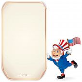 Illustration of Cartoon Uncle Sam with Sign. Perfect for a Fourth of July Design.