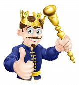 stock photo of sceptre  - Illustration of a happy cartoon king holding a gold sceptre - JPG