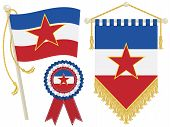 picture of yugoslavia  - yugoslavia flag rosette and pennant isolated on white - JPG