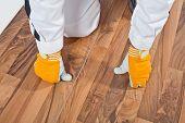 Worker Analyzing Wooden Floor For Cracks