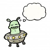 picture of flying saucer  - cartoon alien in flying saucer - JPG