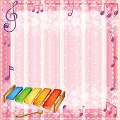 Illustration of a colorful xylophone with musical notes
