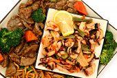 Lo Mein, Beef, Squid, Seaweed