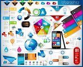 Infográfico elementos - conjunto de etiquetas de papel, tecnologia ícones, nuvem cmputing, gráficos, etiquetas de papel, arro