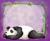 Illustration of a stationery with a bamboo frame and a panda