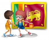 Illustration of the flag of Sri Lanka with the two basketball players on a white background