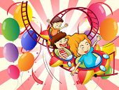 Illustration of the kids enjoying the roller coaster ride