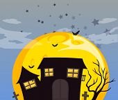 Illustration of a haunted house and the bright full moon