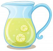 Illustration of a pitcher of lemon juice on a white background