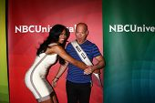 LOS ANGELES - APR 22:  Nana Meriwether, Howie Mandel at the NBCUniversal Summer Pres Day 2013 at the
