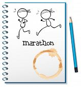Illustration of a notebook with two runners in the cover page on a white background