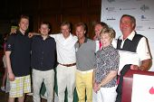 LOS ANGELES - APR 15:  Jack Wagner, with sons Harrison and Peter, His brother Dennis  and family at