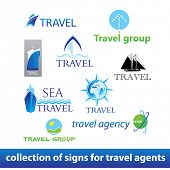 Collection signs - travel-agency. Vector set
