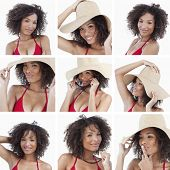 Collage of beautiful brunette woman on white background