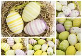 Collage of easter eggs in straw and basket