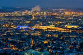 austria, upper austria, linz. night scene seen from poestlingberg from.