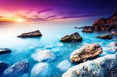 picture of crimea  - Majestic summer sunset over the sea - JPG