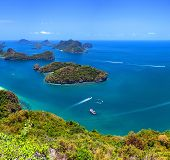 Angthong marine park near koh Samui, Thailand. Beautiful tropical island panoramic view with blue sky and water, exotic thai nature. Famous travel destination poster