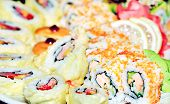 Appetizing Tasty Japan Rolls And Sushi Assortment