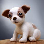 Toy dog, hand made puppy, felting