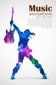 illustration of rock star with guitar for musical design