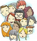 Illustration of Teens Faces of Different Race