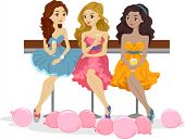 Illustration of Girls having Drinks at a Prom