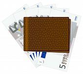 Brieftasche mit fünf Euro-Banknoten