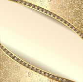 Background Frame With Flowers Of Silk With Gold Glitter
