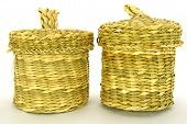 Wattled basket from a reed