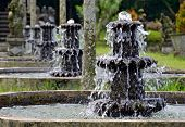 Row Of Water Fountains At Tirtagangga Water Temple