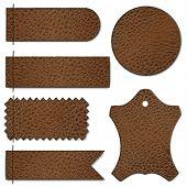 Leather stitched labels set  - raster version
